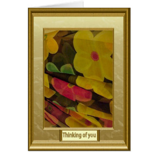 Tänkande av dig, lagrar av blommor hälsningskort