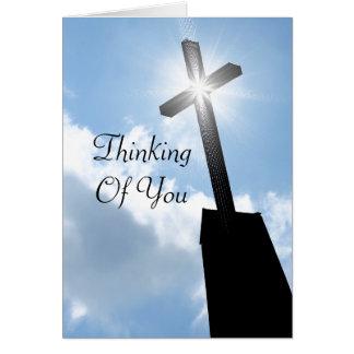 Tänkande av dig religiöst hälsningkort OBS kort