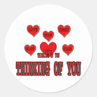 Tänkande av dig runt klistermärke