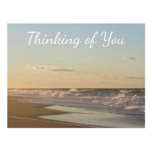Tänkande av dig vykort för Nantucket strandsoluppg