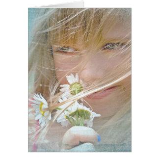 tänkande av du-flicka med daisy hälsningskort