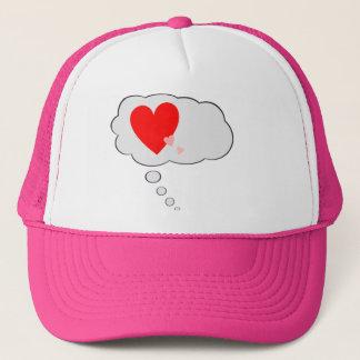 Tänkande kärlekhjärtor bubblar hatten truckerkeps