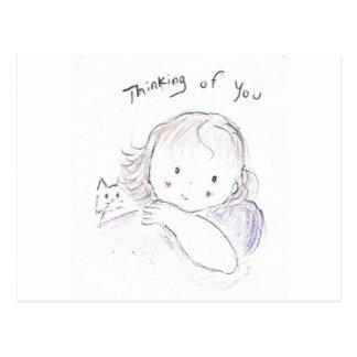 Tankar av dig vykort