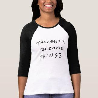 Tankar blir sakkvinna 3/4 T-tröja för sleeve T-shirt
