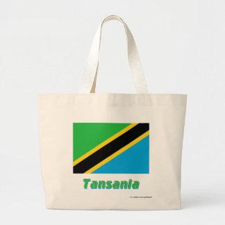 Tansania Flagge mit Namen Tote Bags