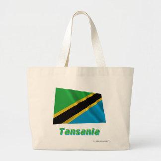 Tansania Fliegende Flagge mit Namen Tote Bag