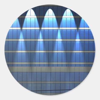 Tänt upp blått som bygger kvarter 2 runt klistermärke