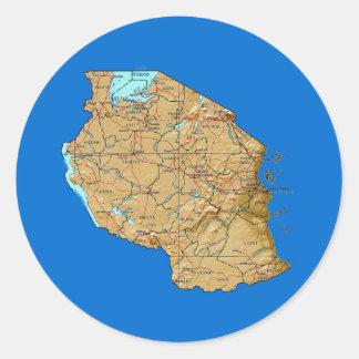 Tanzania kartaklistermärke runt klistermärke