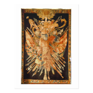 Tapestry som visar krigtroféer (textilen) vykort
