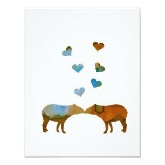 Tapiren kopplar ihop 10,8 x 14 cm inbjudningskort