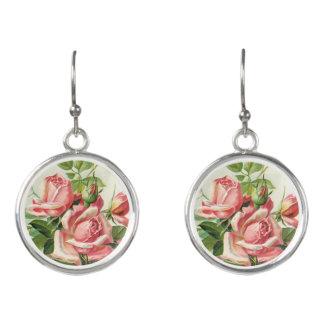 Tappar den rosa blommigten för vintage örhängen