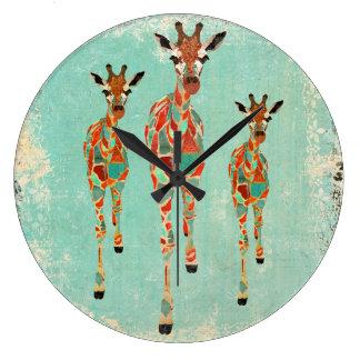 Tar tid på Azure & bärnstensfärgade giraff för Stor Rund Klocka