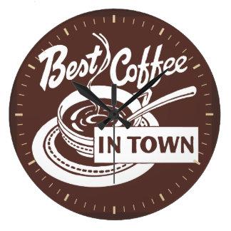 """""""Tar tid på bäst kaffe i den Town"""" lagerväggen Stor Rund Klocka"""