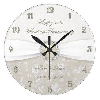 Tar tid på den 30th bröllopsdagen för damast stor klocka
