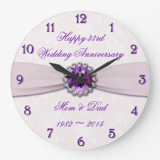 Tar tid på den 33rd bröllopsdagväggen för damast stor klocka