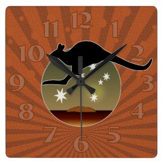 Tar tid på den Aussie symbolsväggen för kängurun Fyrkantig Klocka