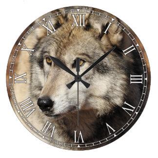 Tar tid på den dekorativa väggen för grå stor klocka