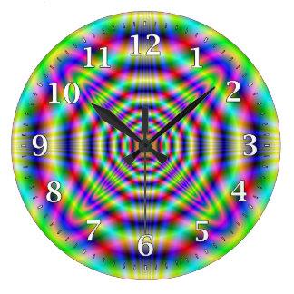 Tar tid på den dekorativa väggen för Psychedelic Stor Rund Klocka