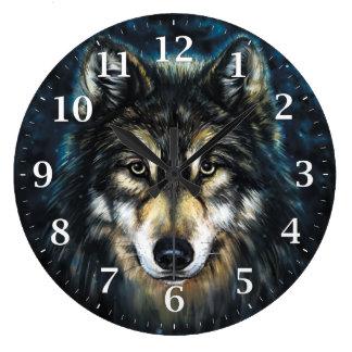 Tar tid på den dekorativa väggen för vargen stor klocka
