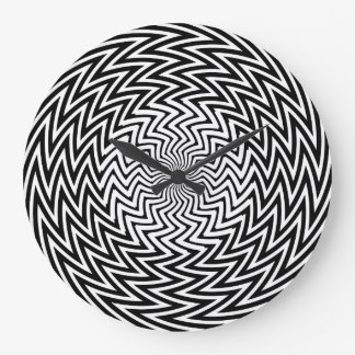Tar tid på den optiska illusionväggen för det stor rund klocka