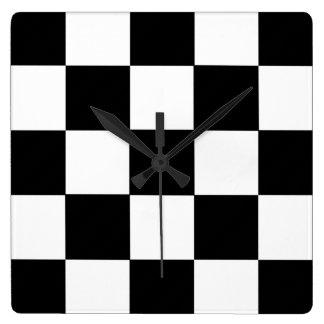 Tar tid på den Retro väggen för den svartvita Fyrkantig Klocka