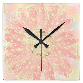 Tar tid på den rosa vattenfärgen för Gerberadaisy Fyrkantig Klocka