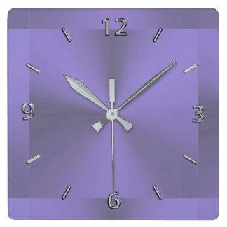 Tar tid på purpurfärgade metalliska för lavendel fyrkantig klocka
