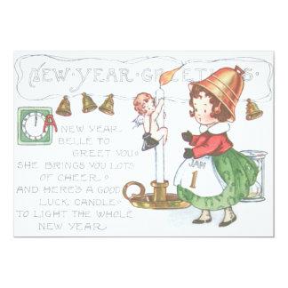 Tar tid på stearinljuset Klockor för det nya året 12,7 X 17,8 Cm Inbjudningskort