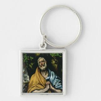 Tårar av St Peter, sena 1580s Fyrkantig Silverfärgad Nyckelring