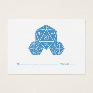 Tärning för blått som D20 gifta sig ställekortet Visitkort