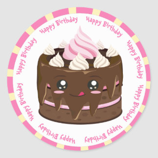 Tårta för grattis på födelsedagenchokladkawaii runt klistermärke