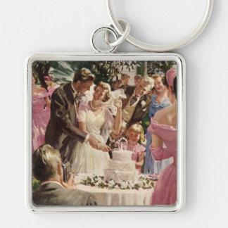 Tårta för snitt för nygift person för vintage fyrkantig silverfärgad nyckelring