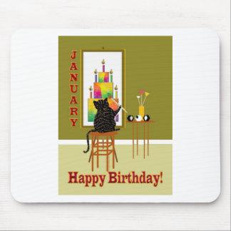 Tårta Januari för kattmålningfödelsedag Musmatta