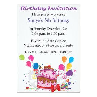 Tårta- och ballongfödelsedaginbjudan 12,7 x 17,8 cm inbjudningskort
