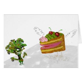 tårta och broccoli hälsningskort