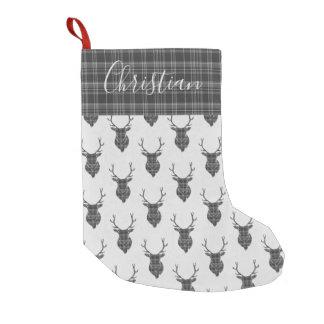 Tartan för grå färg för huvud för liten julstrumpa