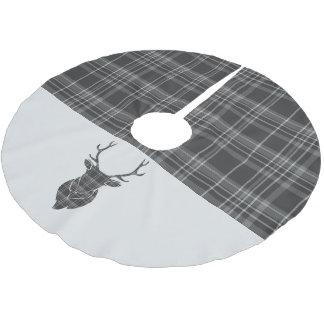 Tartan för grå färg för julfullvuxen julgransmatta borstad polyester