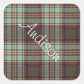 Tartan för kilt för Andison klanpläd skotsk Fyrkantigt Klistermärke