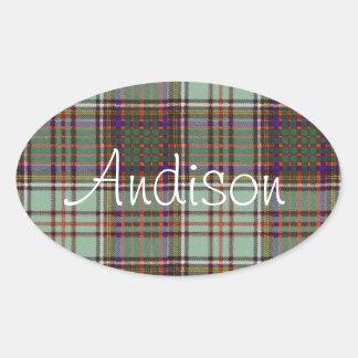 Tartan för kilt för Andison klanpläd skotsk Ovalt Klistermärke