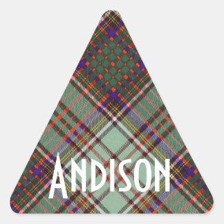 Tartan för kilt för Andison klanpläd skotsk Triangelformat Klistermärke