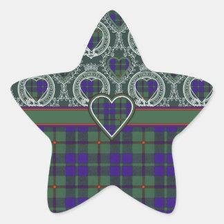 Tartan för kilt för Barcley klanpläd skotsk Stjärnformat Klistermärke
