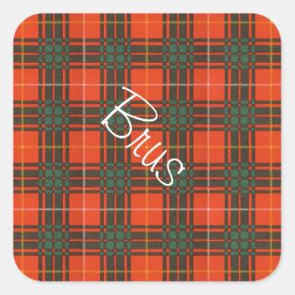 Tartan för kilt för Brus klanpläd skotsk Fyrkantigt Klistermärke