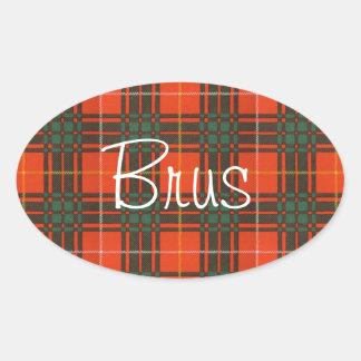 Tartan för kilt för Brus klanpläd skotsk Ovalt Klistermärke
