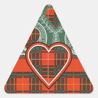 Tartan för kilt för Brus klanpläd skotsk Triangelformat Klistermärke