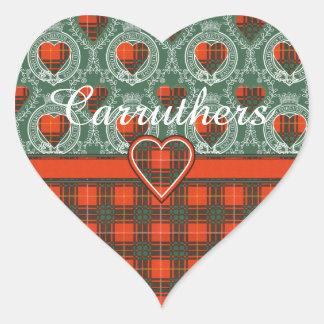 Tartan för kilt för Carruthers klanpläd skotsk Hjärtformat Klistermärke