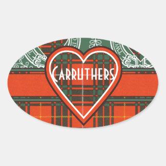 Tartan för kilt för Carruthers klanpläd skotsk Ovalt Klistermärke