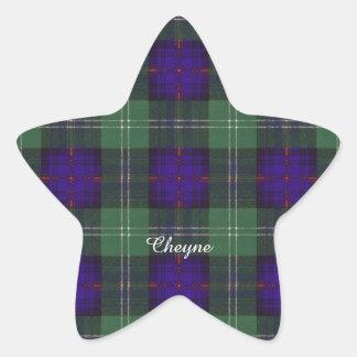 Tartan för kilt för Cheyne klanpläd skotsk Stjärnformat Klistermärke