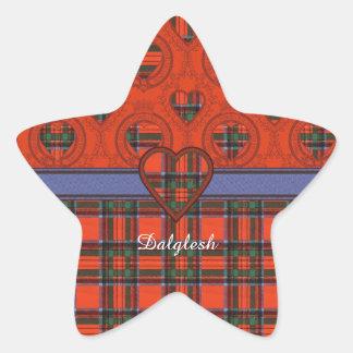 Tartan för kilt för Dalglesh klanpläd skotsk Stjärnformat Klistermärke