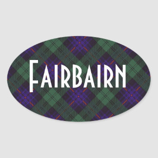 Tartan för kilt för Fairbairn klanpläd skotsk Ovalt Klistermärke