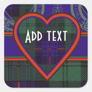 Tartan för kilt för Kinmount klanpläd skotsk Fyrkantigt Klistermärke
